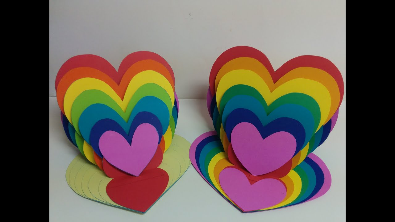 Art and craft how to make rainbow heart card heart easel for How to make craft