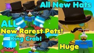 Update! Got King Crab! Got All New Rarest Legendary pets & Hats! New Hats - Bubble Gum Simulator