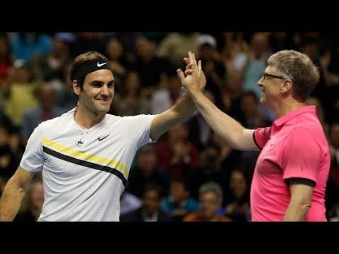 Roger Federer/Bill Gates vs Sock/Guthrie in the 2018 Match for Africa 5 (Highlights)