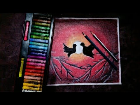How to drawing landscape with oil pastel colors step by step