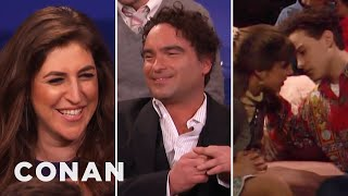 Mayim Bialik & Johnny Galecki Remember Their Teenage Kiss  - CONAN on TBS