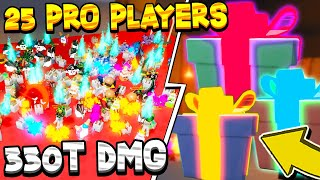 25 PRO PLAYERS VS DUNGEON IN UNBOXING SIMULATOR! *330 TRILLION DMG* Roblox