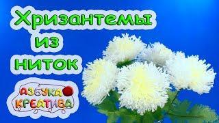 цветы из ниток своими руками Хризантемы для любимой мамы Wool flowers DIY Azbuka Creativa
