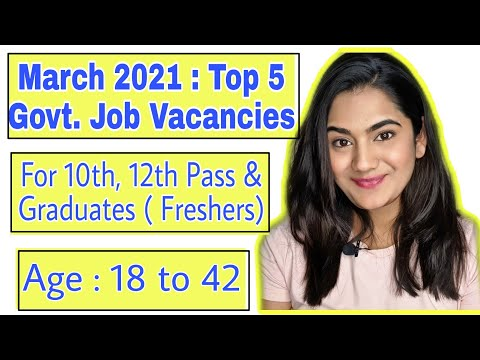 Top 5 Job Vacancies of March 2021 for 10th pass, 12th pass & Graduate Freshers in all India.
