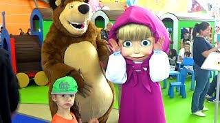 Hello song / Masha and the Bear & other cartoon characters Indoor playground & funny Ulyana playtime