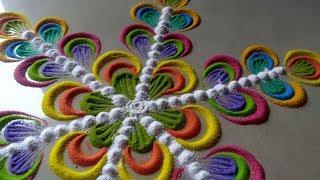 सबसे आसान सुंदर जल्दी बनने वाली रंगोली || Make easy beautiful rangoli design By Bucketful Creation