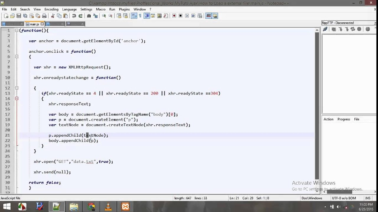 How To Load A Html File In Webpage Using Ajax