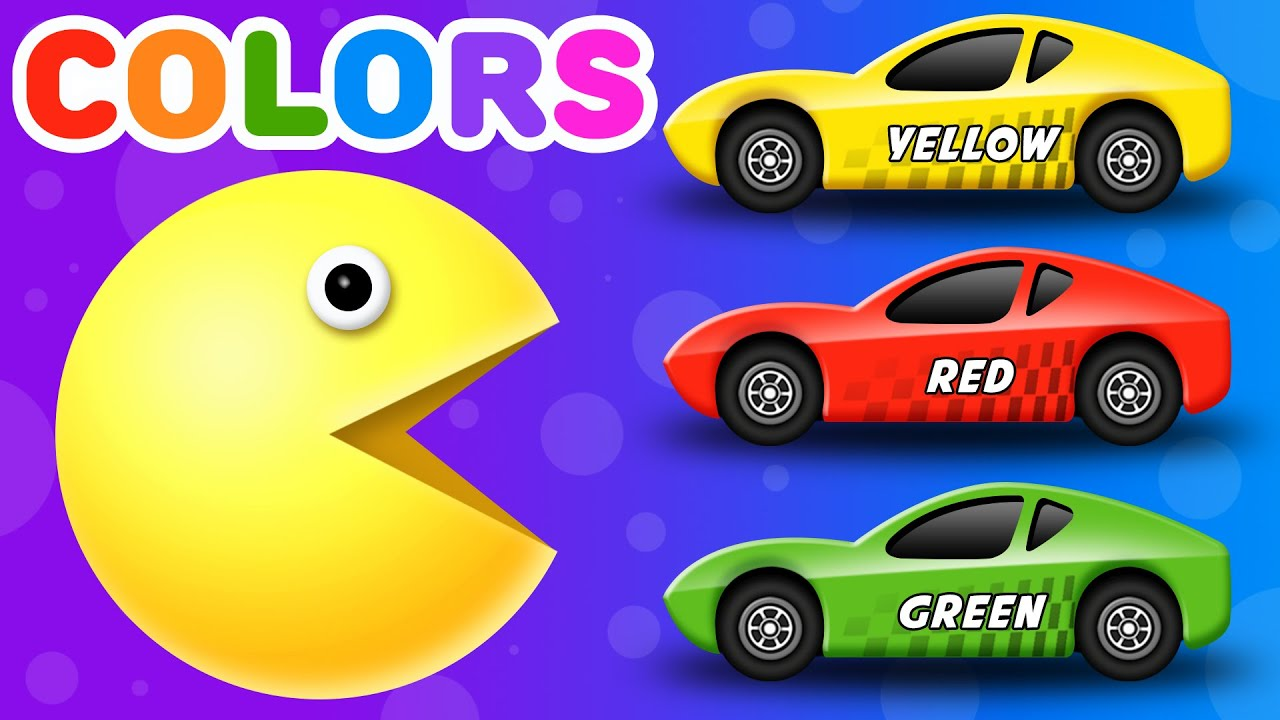 Learn Colors For Children With Packman Cartoon Colours For Kids To Learn