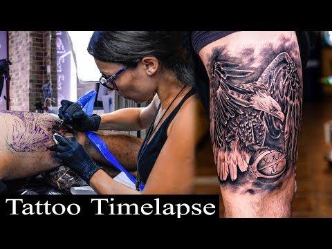 Eagle tattoo timelapse - Lena Diamanti