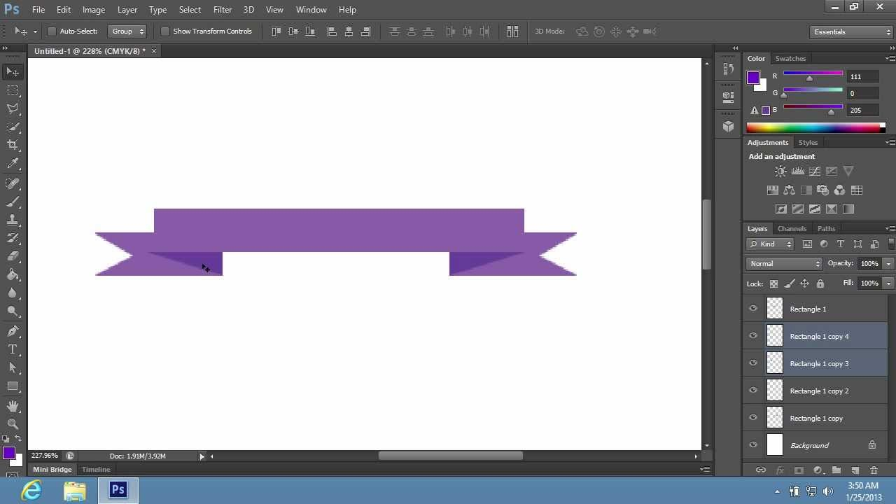 how to make ribbon banner in photoshop cs6 youtube