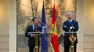 NATO Secretary General with the Prime Minister of Montenegro - Joint Press Point