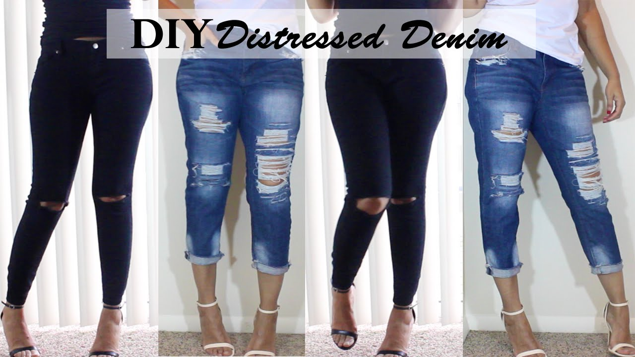 DIY Distressed Jeans  Boyfriend Jeans &amp Ripped Knee Jeans - YouTube