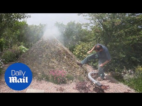 Brian Butler talks about the 6ft high volcano in his garden - Daily Mail