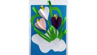 Поделки на 8 марта в школу и садик своими руками. Аппликация из цветной бумаги. Подснежники.