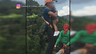 Dad Bungee Jumps with His 2-Year-Old Daughter!