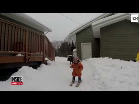 Oh, Baby! 1-Year-Old Who Learned To Walk 2 Weeks Ago Is Slaying It on Skis