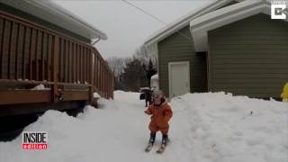 oh baby 1 year old who learned to walk 2 weeks ago is slaying it on skis