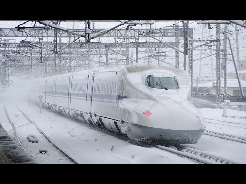 Japanese Bullet Train runs in snow