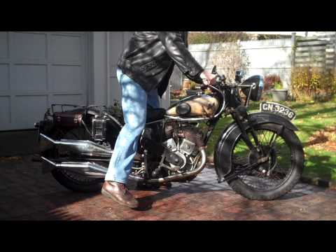 Matchless X 3 (998cc, v twin) 1931; starting and running the bike. in HD