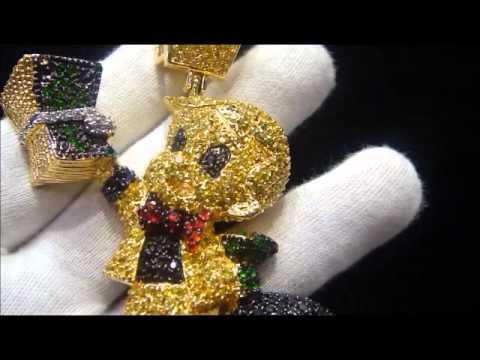 All Diamond Watch >> Master Of Bling Lab Simulated Diamond Custom Richie Rich Lemonade Pendant - YouTube