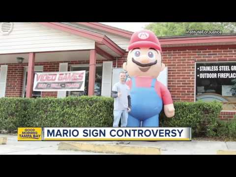 Video game store owner sues Florida city over 'illegal' inflatable Mario display