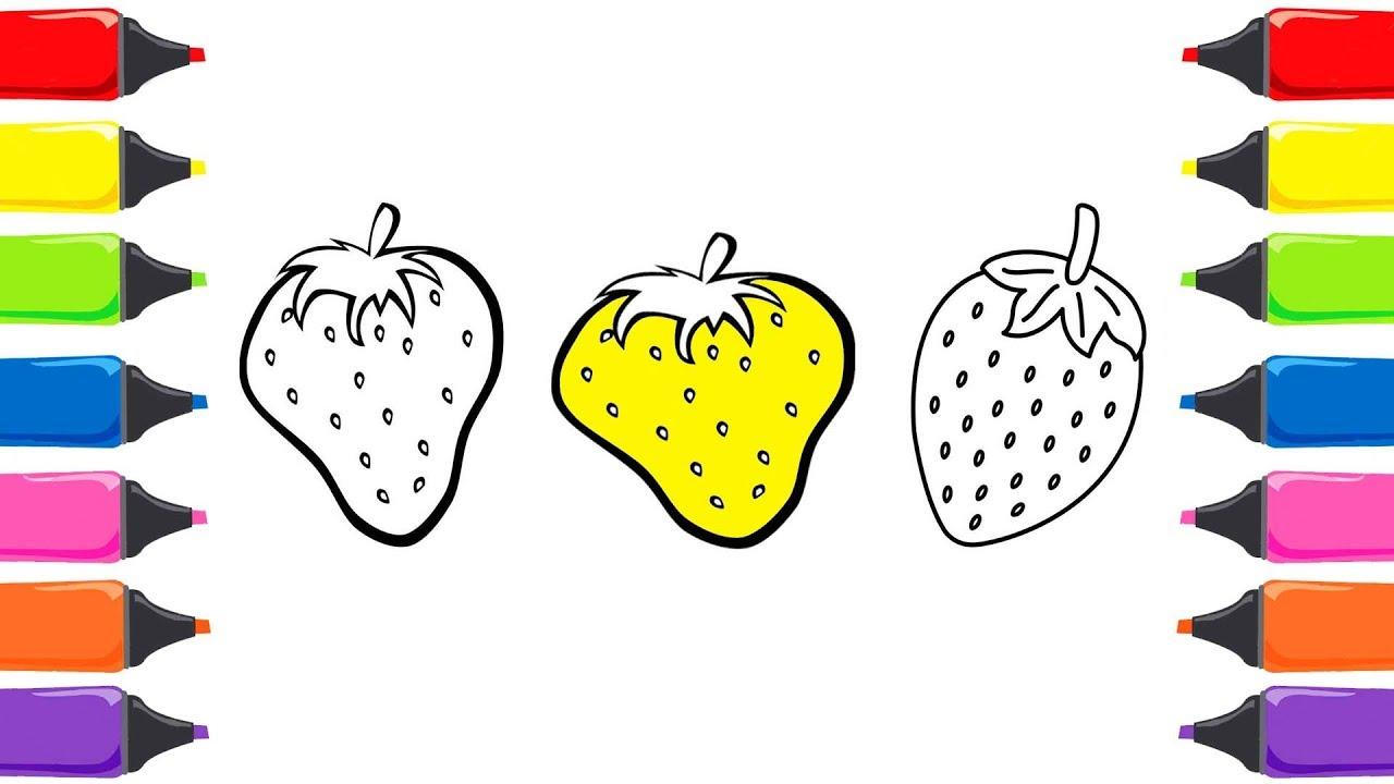 Renkleri öğreniyorum çilek Boyama Ile Meyveleri öğreniyorum