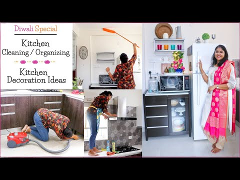 Diwali Kitchen (Never-Get-Cleaned-Areas) Cleaning Tips and Diwali  Kitchen Decoration Idea / JustEMI