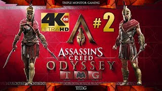 ASSASSIN'S CREED ODYSSEY [4K@60fps] walkthrough part 2(main story only) |Triple monitor gameplay