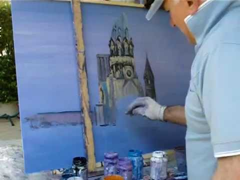Painting video of Berlin the Kaiser Wilhelm Memorial Church.