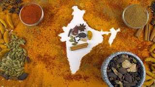 Map of India made with the blend of all Indian spices on white background