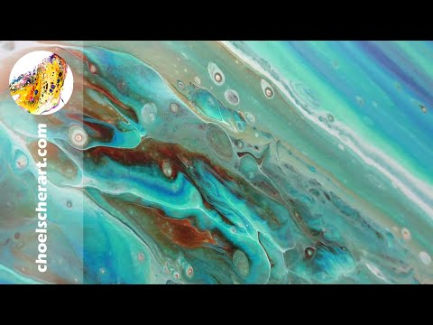 🌳Tree Ring Pour Geode Fluid Art Acrylic Painting – Peacock Color Scheme 3/4🌳