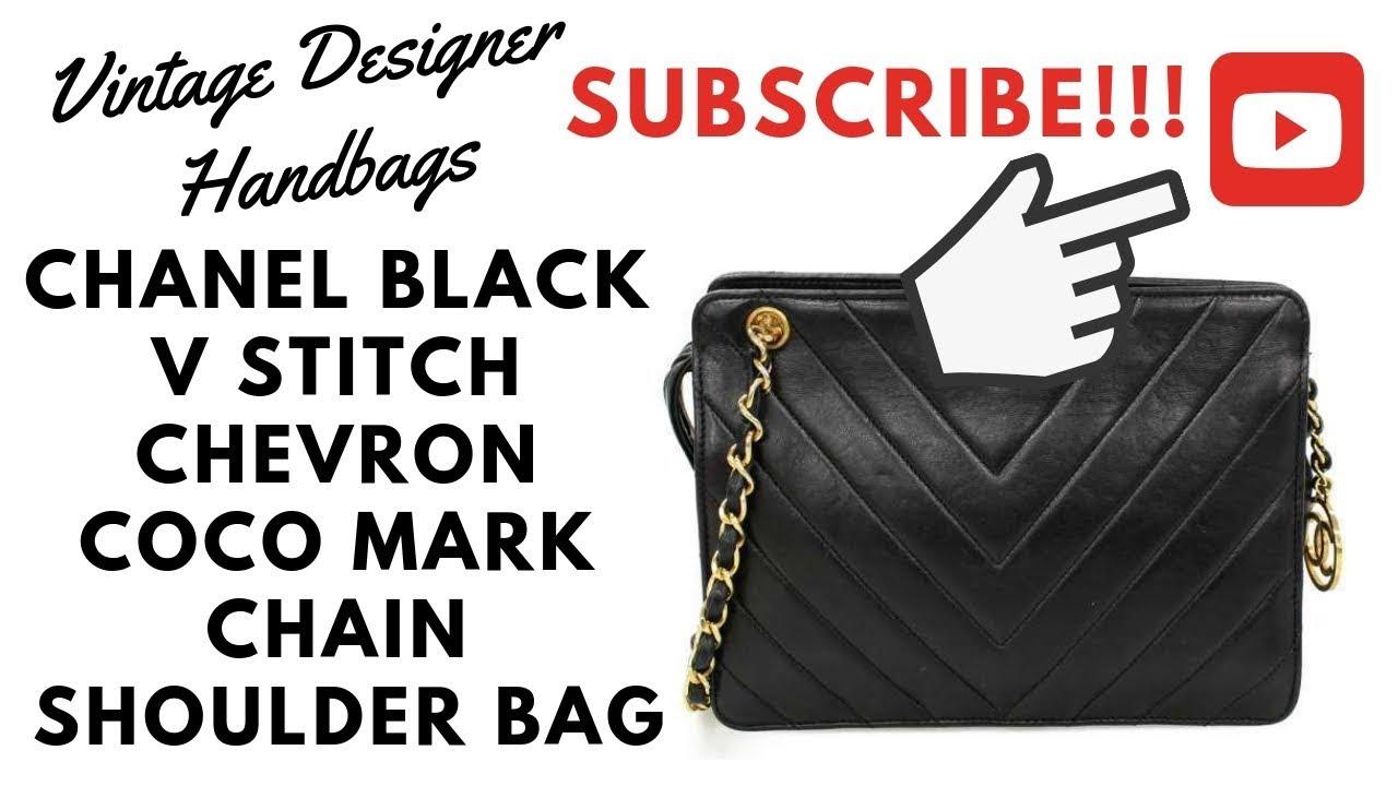 d46ece5cb1014c VDB CHANEL BLACK V STITCH CHEVRON COCO MARK CHAIN SHOULDER BAG. Vintage  Designer Handbags
