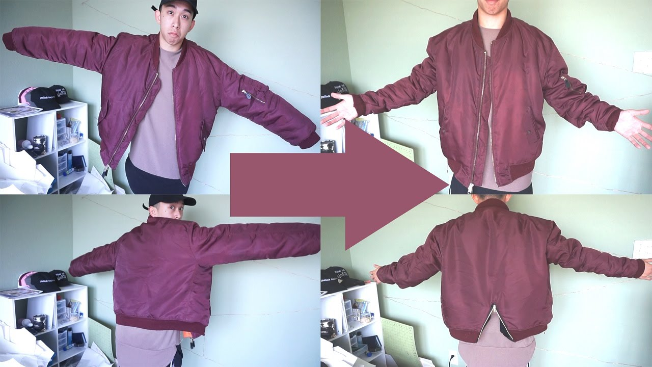 How to Slim An Oversized Bomber Jacket - YouTube