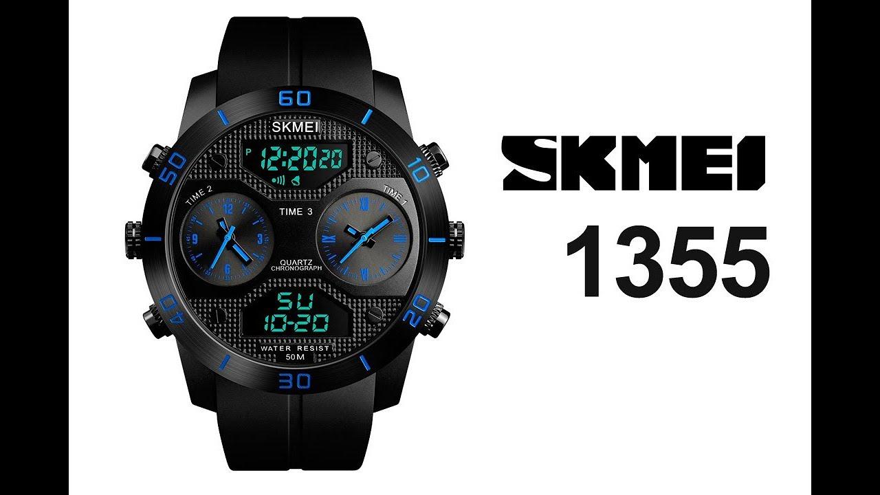 cb32e978a299 Reloj acuático SKMEI 1355 (con triple hora) - YouTube