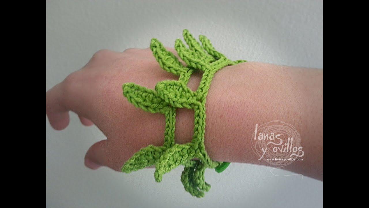 Tutorial Pulsera Crochet o Ganchillo Hojas - YouTube