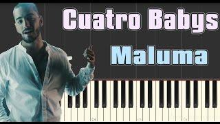 maluma cuatro babys piano tutorial slow