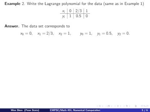 ch2 2: polynomial interpolation, Lagrange form. Wen Shen