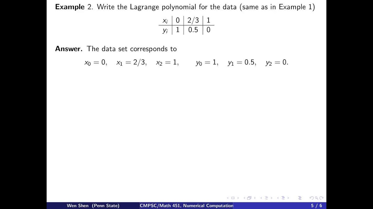 ch2 2: polynomial interpolation, Lagrange form. Wen Shen - YouTube