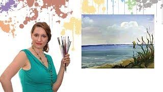 Уроки живописи для начинающих. Рисуем дневное море гуашью или акрилом