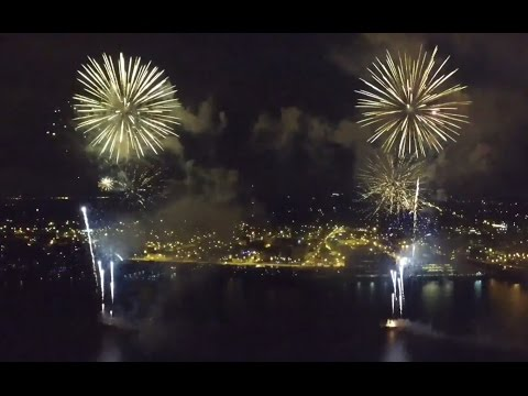 Red, White, And Boom Fireworks over the Mississippi River (Drone)