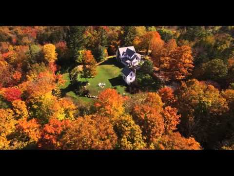 Vermont Peak Foliage Aerial Video of Lake Willoughby's Notch House!