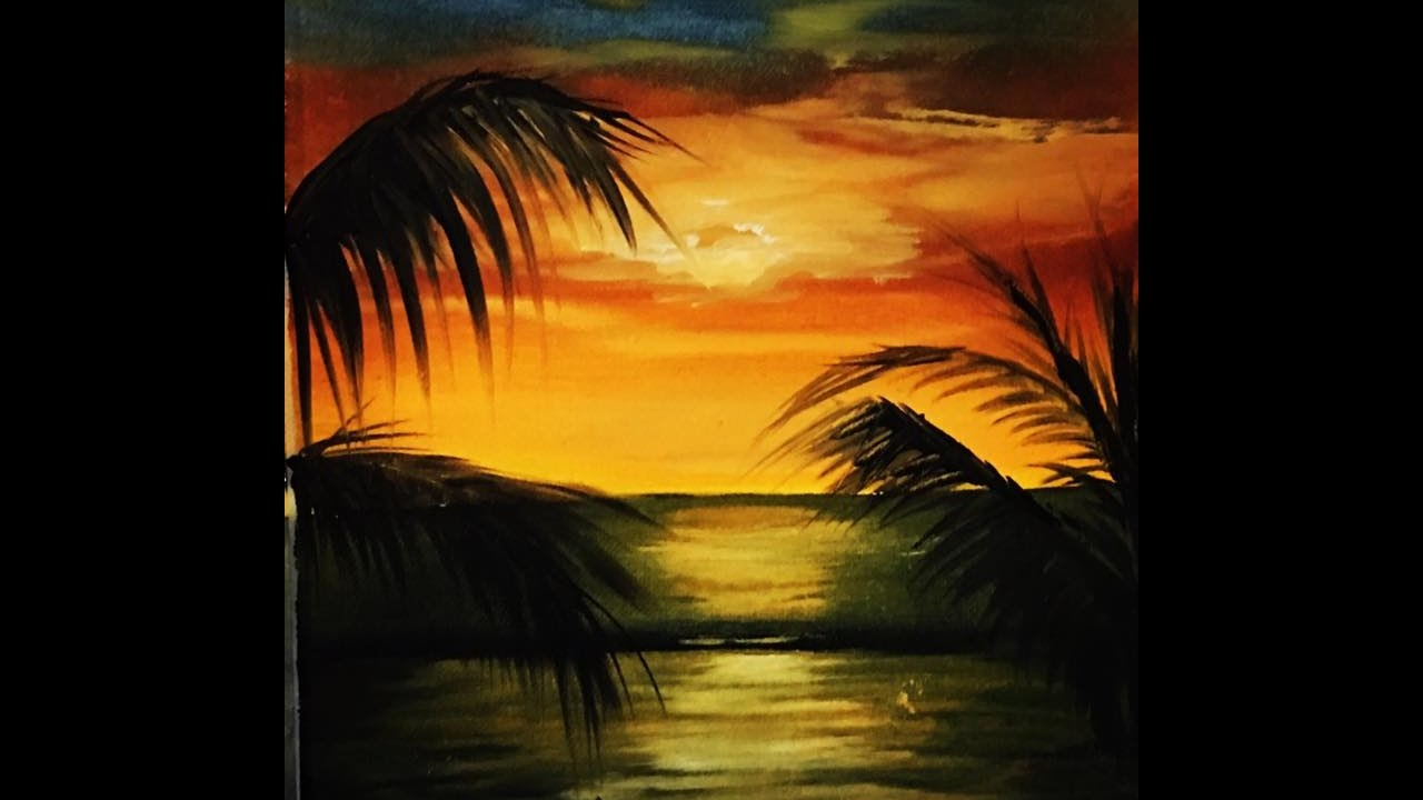 How To Paint Sunset With Oil Paintings كيف ارسم منظر الغروب