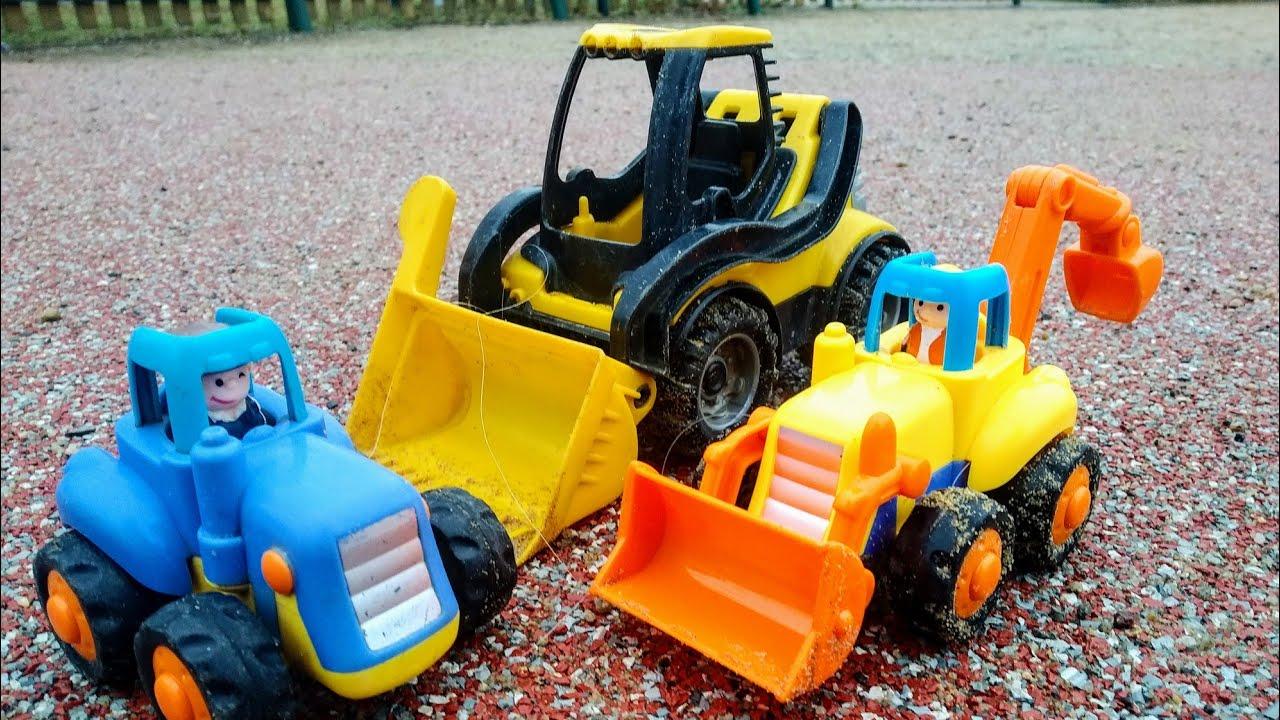 Мультики про машинки игрушки. Синий трактор и бульдозер ...