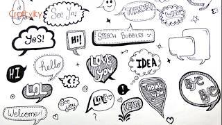 Doodle Speech Bubbles | 28 Speech Bubbles | Doodle speech Bubble | Bullet Journal Elements