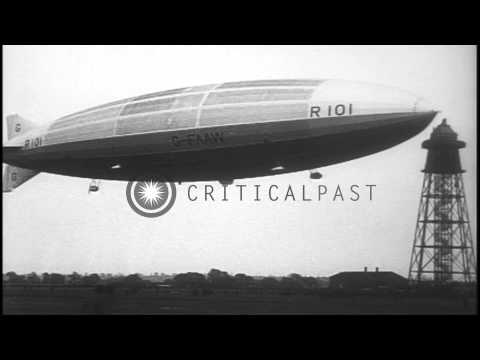 Lord Thomson and other notable aircraft experts board British R101 airship in Car...HD Stock Footage