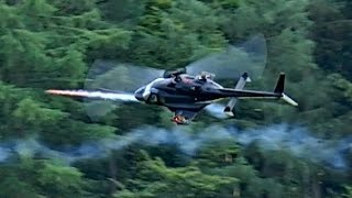 gigantic rc airwolf in fight with rockets bell 222 scale model electric fight helicopter flight show
