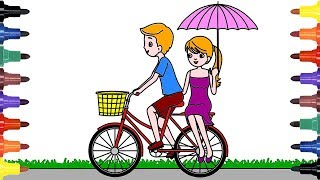 How To Draw Beautiful Girl And Boy biking   Cycling, Bicycling   Kids Videos   Learn Colors