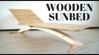 Contemporary wooden sunbed