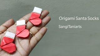 #Origami Santa Socks | #Christmas Eve socks | #diy