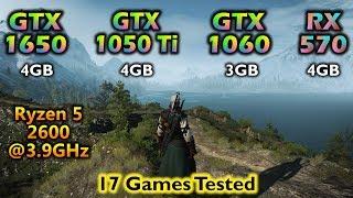 GTX 1650 vs GTX 1050 ti vs GTX 1060 vs RX 570 | Tested in 17 Games 1080p 1440p 4K | AMD Ryzen 5 2600
